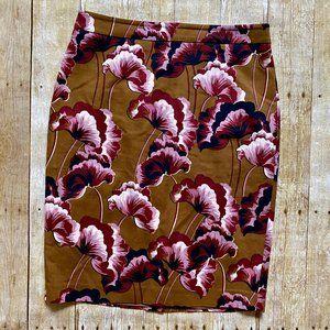 Ann Taylor tan & pink floral pencil skirt size 10